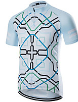 cheap -21Grams Men's Short Sleeve Cycling Jersey Polyester Blue / Black Bike Jersey Top Mountain Bike MTB Road Bike Cycling UV Resistant Breathable Quick Dry Sports Clothing Apparel / Stretchy / Race Fit