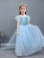 cheap -Frozen Princess Dress Girls' Movie Cosplay Halloween Christmas Blue Dress Christmas Halloween