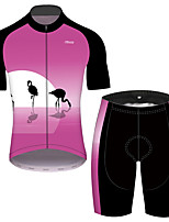 cheap -21Grams Men's Short Sleeve Cycling Jersey with Shorts Pink Flamingo Floral Botanical Bike UV Resistant Quick Dry Sports Flamingo Mountain Bike MTB Road Bike Cycling Clothing Apparel / Stretchy