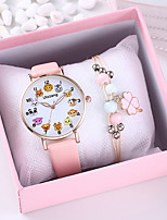 cheap -Women's Quartz Watches New Arrival Fashion Black White Brown PU Leather Chinese Quartz White Black Blushing Pink Chronograph Creative New Design 2 Piece Analog One Year Battery Life