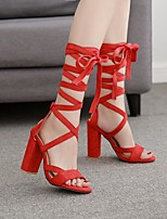 cheap -Women's Sandals Summer Chunky Heel Open Toe Daily PU Almond / Red