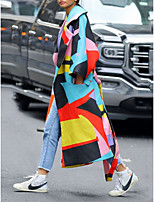 cheap -Women's Fall Winter Coat Daily Going out Geometric Regular Color Block Rainbow S / M / L