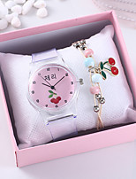 cheap -Women's Quartz Watches New Arrival Fashion Grey Rubber Chinese Quartz White+Pink Blushing Pink Chronograph Cute Creative 2 Piece Analog One Year Battery Life