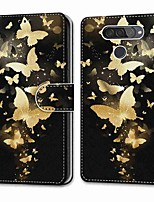 cheap -Case For LG Q70 / LG K50S / LG K40S Wallet Card Holder with Stand Full Body Cases Golden Butterfly Group PU Leather TPU for LG K30 2019 LG K20 2019 LG X Power