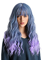 cheap -Synthetic Wig Bangs Wavy Water Wave Side Part With Bangs Wig Ombre Long Black / Smoke Blue Ombre Blue Synthetic Hair 24 inch Women's Cosplay Women Synthetic Blue Ombre HAIR CUBE / Ombre Hair
