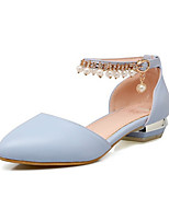 cheap -Women's Sandals Summer Low Heel Pointed Toe Daily PU White / Pink / Blue