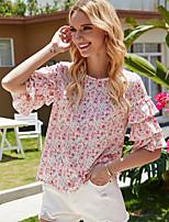 cheap -Women's Floral Blouse Daily Blushing Pink