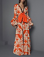 cheap -Jumpsuits Floral Boho Holiday Prom Dress V Neck Long Sleeve Floor Length Spandex with Pattern / Print 2020