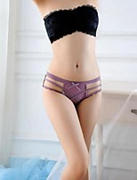 cheap -Women's Lace / Bow / Criss Cross Brief - EU / US Size Mid Waist Purple Red Green One-Size