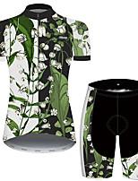 Недорогие -21Grams Жен. С короткими рукавами Велокофты и велошорты Зеленый / черный Цветочные ботанический Велоспорт Дышащий Быстровысыхающий Виды спорта С узором Горные велосипеды Шоссейные велосипеды Одежда