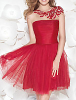 cheap -A-Line Flirty Red Homecoming Cocktail Party Dress Illusion Neck Jewel Neck Sleeveless Short / Mini Lace Tulle with Ruched Embroidery 2020