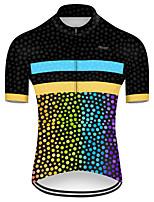 Недорогие -21Grams Муж. С короткими рукавами Велокофты Полиэстер Черный / желтый Горошек Градиент Велоспорт Джерси Верхняя часть Горные велосипеды Шоссейные велосипеды / Слабоэластичная / Дышащий / Дышащий