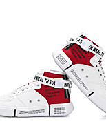 cheap -Men's Spring & Summer / Fall & Winter Casual Daily Outdoor Sneakers Walking Shoes Canvas / PU Breathable Waterproof Non-slipping White / Black / Red