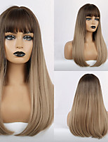 cheap -Synthetic Wig Bangs kinky Straight Natural Straight Side Part Neat Bang With Bangs Wig Ombre Long Ombre Brown Synthetic Hair 20 inch Women's Cosplay Women Synthetic Brown Ombre HAIR CUBE