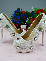 cheap -Women's Heels 2020 Fall & Winter Stiletto Heel Round Toe Wedding Party & Evening Rhinestone / Pearl PU White