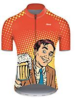 Недорогие -21Grams Муж. С короткими рукавами Велокофты Полиэстер Оранжевый + белый Горошек Градиент Пиво Октоберфест Велоспорт Джерси Верхняя часть Горные велосипеды Шоссейные велосипеды / Слабоэластичная