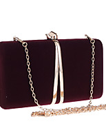 cheap -Women's Chain Polyester Evening Bag Solid Color Wine / Red / Black