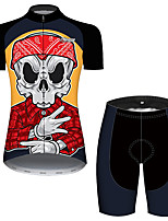 cheap -21Grams Women's Short Sleeve Cycling Jersey with Shorts Black / Red Skull Bike Breathable Quick Dry Sports Patterned Mountain Bike MTB Road Bike Cycling Clothing Apparel / Micro-elastic