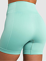 cheap -Women's High Waist Yoga Shorts Solid Color Black Fuchsia Orange Green Blue Elastane Running Fitness Gym Workout Shorts Bottoms Sport Activewear Breathable Moisture Wicking Butt Lift Tummy Control