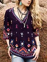 cheap -Women's Plus Size Geometric Print Blouse Daily V Neck Black / Blue / Purple / Red