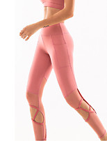 cheap -Women's High Waist Yoga Pants Patchwork Black Pink Gray Mesh Running Fitness Gym Workout Tights Leggings Sport Activewear Breathable Tummy Control Butt Lift Moisture Wicking High Elasticity Skinny