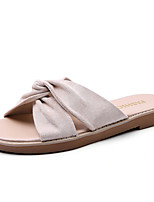 cheap -Women's Slippers & Flip-Flops Spring & Summer Flat Heel Open Toe Daily Outdoor Leather Black / Beige