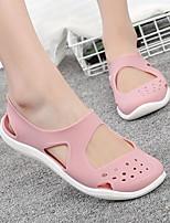 cheap -Women's Sandals Flat Sandal Summer Flat Heel Open Toe Daily PU Black / Burgundy / Pink