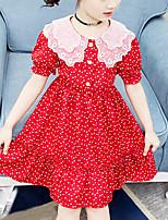Недорогие -Дети Девочки Симпатичные Стиль Черное и белое Горошек С сердцем С принтом С короткими рукавами До колена Платье Красный
