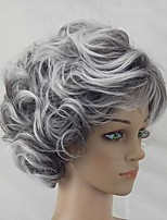 cheap -Synthetic Wig Curly Matte Short Bob Wig Short Silver Synthetic Hair 6 inch Women's Fashionable Design curling Fluffy Silver
