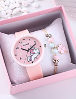 cheap -Women's Quartz Watches Cartoon Fashion Pink Silicone Chinese Quartz Blushing Pink Chronograph Cute Creative 2 Piece Analog One Year Battery Life