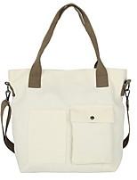 cheap -Women's Zipper Canvas Top Handle Bag Canvas Bag Geometric Pattern White / Black