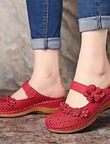 cheap -Women's Sandals Wedge Sandals Flat Sandal Summer Flat Heel Round Toe Daily PU Dark Brown / White / Black