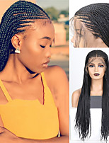cheap -Synthetic Lace Front Wig Box Braids Plaited Middle Part with Baby Hair Lace Front Wig Long Black#1B Synthetic Hair 18 24 inch Women's Soft Women Synthetic Black