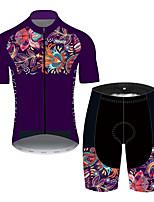 Недорогие -21Grams Муж. С короткими рукавами Велокофты и велошорты Лиловый Цветочные ботанический Велоспорт Устойчивость к УФ Быстровысыхающий Виды спорта С узором Горные велосипеды Шоссейные велосипеды Одежда