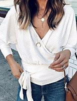 cheap -Women's Solid Colored Loose T-shirt Daily V Neck White