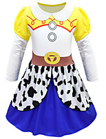 cheap -Kids Girls' Active Cute Polka Dot Cartoon Halloween Long Sleeve Knee-length Dress White