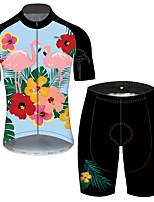 Недорогие -21Grams Муж. С короткими рукавами Велокофты и велошорты Черный / синий Фламинго Цветочные ботанический Велоспорт Устойчивость к УФ Быстровысыхающий Виды спорта Фламинго / Эластичная