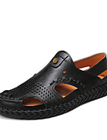 cheap -Men's Summer Casual Outdoor Beach Sandals Water Shoes / Walking Shoes Leather Breathable Wear Proof Light Brown / Black