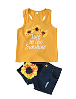 cheap -Kids Boys' Active Vintage Daily Wear Floral Cartoon Print Sleeveless Short Short Clothing Set Yellow