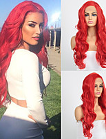 cheap -Synthetic Lace Front Wig Body Wave Side Part Lace Front Wig Long Red Synthetic Hair 18-26 inch Women's Heat Resistant Synthetic Easy dressing Red / Natural Hairline / Natural Hairline