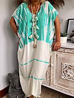 cheap -Women's Shift Dress Midi Dress - Short Sleeves Geometric Summer Casual 2020 Blushing Pink Green S M L XL