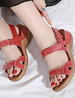 cheap -Women's Sandals Wedge Sandals Flat Sandal Summer Flat Heel Open Toe Daily PU Almond / Black / Red