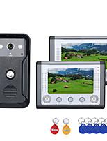 Недорогие -7-дюймовый 2-дюймовый монитор цветной видео домофон дверной телефон RFID-система с HD дверной звонок 1000tvl камеры