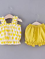 cheap -Baby Girls' Basic Color Block Print Sleeveless Short Clothing Set Yellow