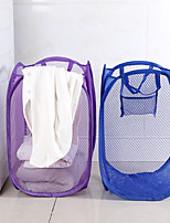 cheap -Foldable Nylon Mesh Fabric Laundry Basket Storage Toy Orgnizer Washing Basket Dirty Clothes Sundries Basket Candy Color
