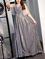 cheap -A-Line Glittering Plus Size Engagement Prom Dress Illusion Neck Half Sleeve Floor Length Tulle with Sequin 2020