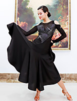 cheap -Ballroom Dance Dress Split Joint Women's Training Performance Long Sleeve Mesh Polyester