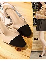cheap -Women's Sandals Summer Chunky Heel Round Toe Daily PU Almond / Black