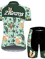 Недорогие -21Grams Жен. С короткими рукавами Велокофты и велошорты Зеленый Цветочные ботанический Велоспорт Дышащий Быстровысыхающий Виды спорта С узором Горные велосипеды Шоссейные велосипеды Одежда
