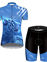 cheap -21Grams Women's Short Sleeve Cycling Jersey with Shorts Polyester Black / Blue Galaxy Animal Tiger Bike Clothing Suit Breathable Quick Dry Ultraviolet Resistant Reflective Strips Sweat-wicking Sports